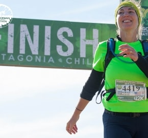 Running in Patagonia for the fifth edition of the Patagonian International Marathon 2016 in Provincia de Última Esperanza, Patagonia Chile Finish Line