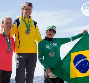 Running in Patagonia for the fifth edition of the Patagonian International Marathon 2016 in Provincia de Última Esperanza, Patagonia Chile Finish Line Hotel Río Serrano Podium Winners
