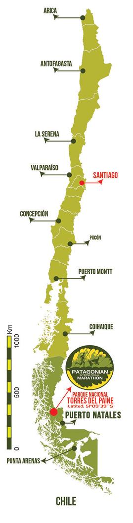Patagonian International Marathon Mapa General de Chile 2021 Patagonia, Chile