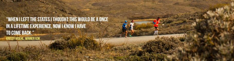 Patagonian International Marathon Krissy Moehl 63K Torres del Paine National Park Patagonia, Chile